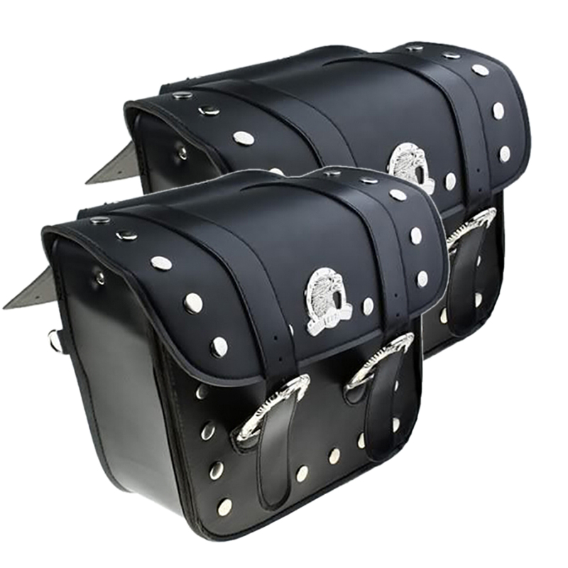 One pair Universal Motorcycle saddlebags Pu Leather Eagle Style Moto Tail luggage Travel font b tool