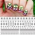 1 hoja de Pegatinas de Transferencia de Agua Calcomanías De Uñas Negro Tribal Azteca de la Onda En Forma de Nail Art Sticker Calcomanías Tatuaje # M017