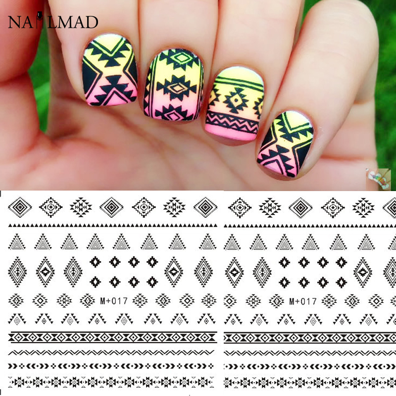 1 sheet Aztec Nail Water Decals Black Tribal Transfer Stickers Wave ...