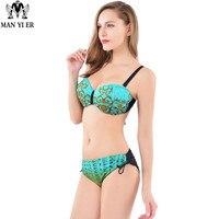 Push Up Bikini Roupa De Praia Swimwear Women Padded Boho Fringe Bandeau Bikini Set New Swimsuit