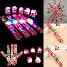 12 Pcs/Set Children Toys LED Bracelet Luminous Snowman Christmas Tree Santa Claus Kids Boys Girls Wrist Strap Gifts M869