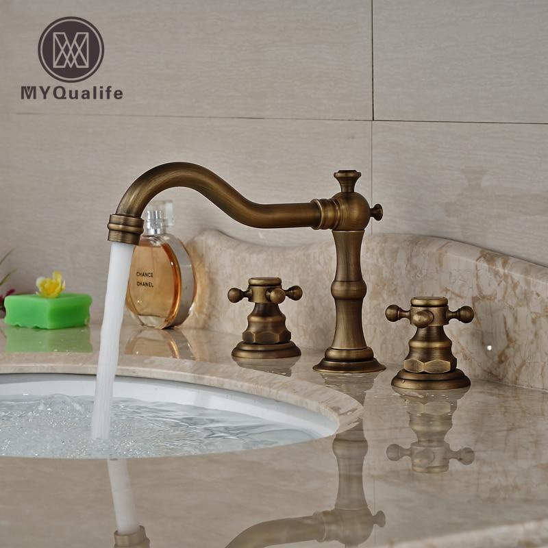 Luxury Antique Brass Widespread Basin Sink Faucet Deck Mount Two Handles Bathroom Mixer Taps