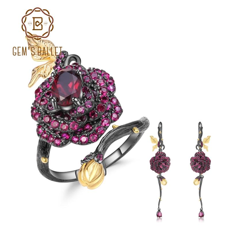 GEMS BALLET Natural Rhodolite Garnet Handmade Rose Flower  Jewelry Set 925 Sterling Silver Ring Earrings Jewelry Sets For  WomenJewelry Sets
