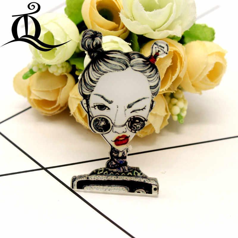 Gratis Pengiriman 1 Pcs Keren Gadis Kartun Bros Ikon Di Ransel Akrilik Lencana Kartun Pin untuk Pakaian Dekorasi Lencana 34