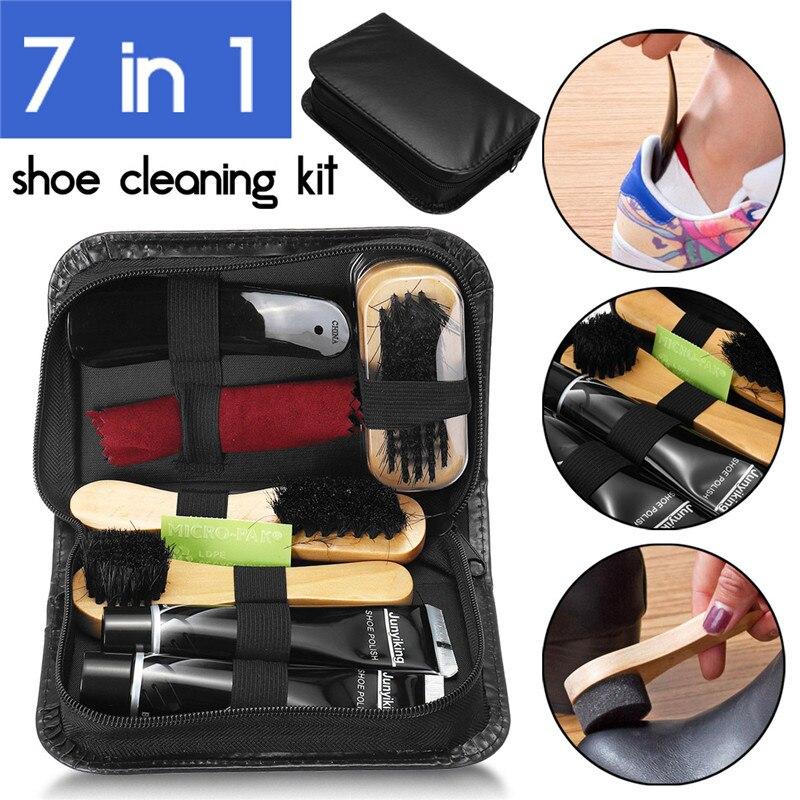 7 in 1 Shoe Cleaning Kit Neutral Shoe Polish Tube Polishing Cloth Plastic Shoe Horn Oval/Wood Handle Shoe Brush Easy Carry Set