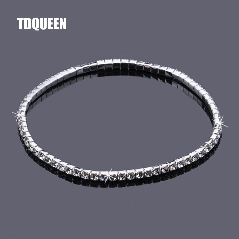 Crystal Rhinestone Anklets Silver Plated Stretch Bridal 1 Row Single Anklet AnkleBracelet Foot Chain Party Accessories for Women