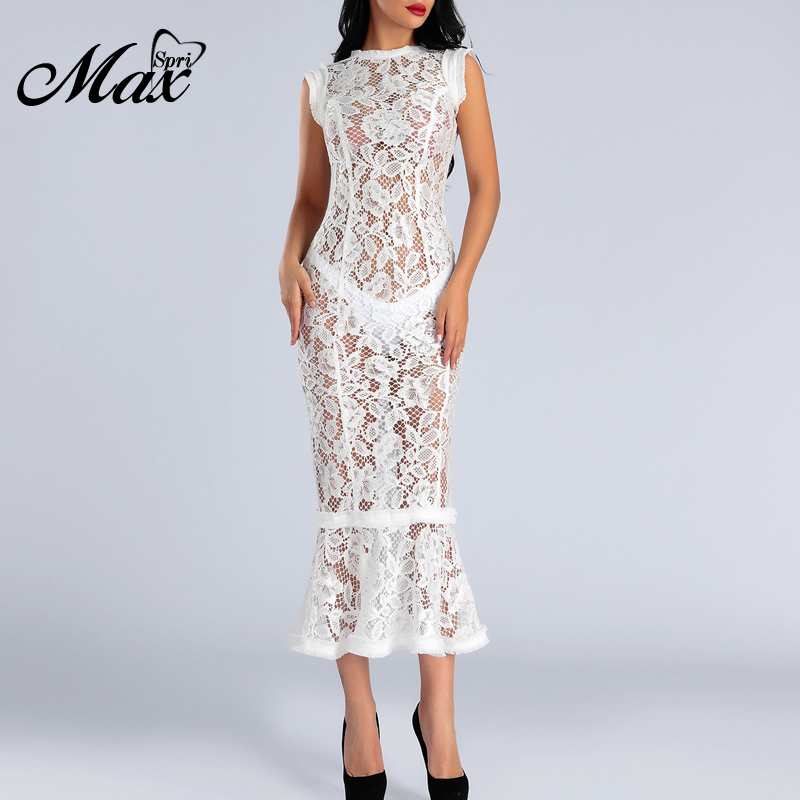 Max Spri Lace Elegant Women Party Dress Angle length Sexy Slim Bodycon Casual Dress 2019 Summer New Fashion in Dresses from Women 39 s Clothing