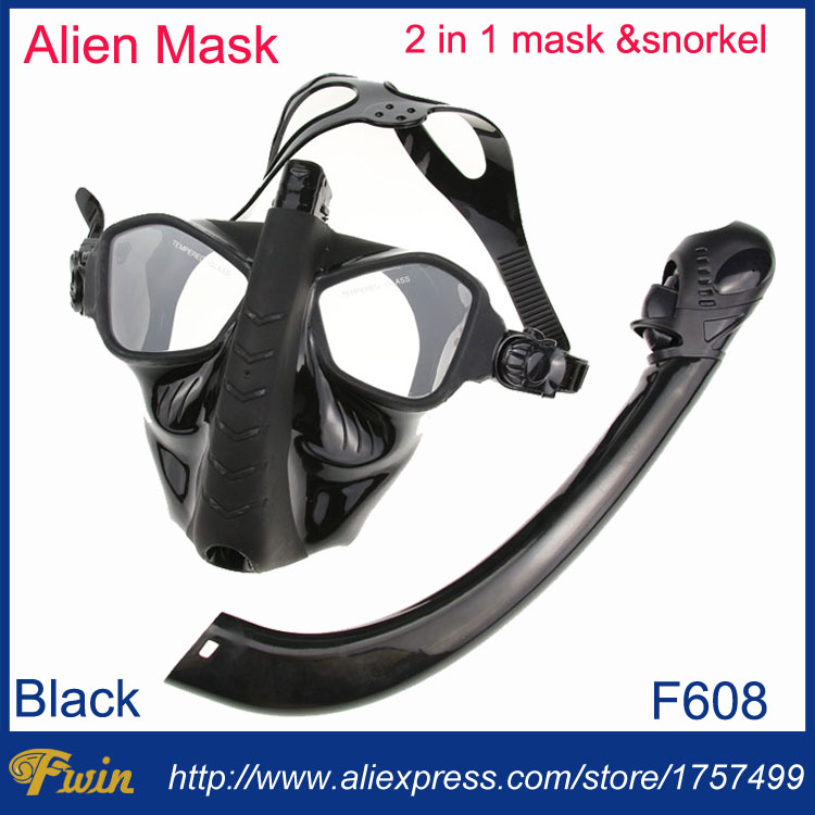 2017 Newest tempered lens spearfishing and freediving silicone alien diving mask snorkel set 2 in 1 spearfish diving gears set
