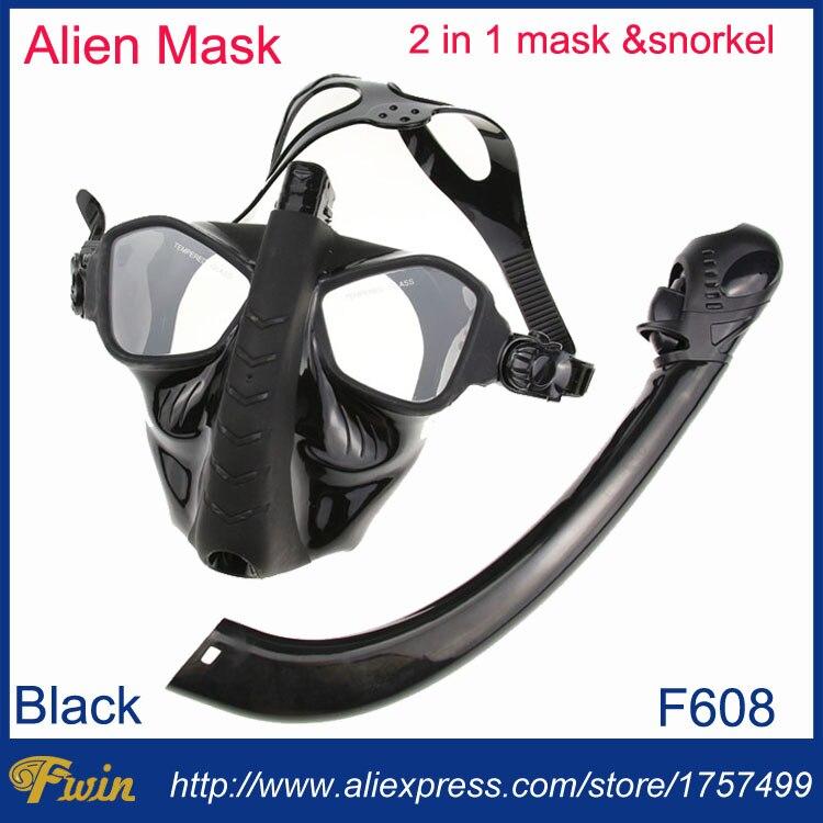 2017 date trempé lentille chasse sous-marine et apnée silicone alien masque de plongée tuba ensemble 2 en 1 sous-marin engins de plongée ensemble