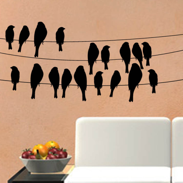 Creative Carve Hollow Birds Removable Wall Sticker Home Decor Black White Adesivo De Parede Decoration