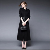 New Fashion Trench Coats Slim Fit Sashes Women Trench Coat Spring Autumn Black Long Full Seelve