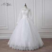 2016 Elegant Panjang Lengan Wedding Dress Ball Gown Taman Lace Applique Bridal Wedding Gown Murah Desain Gratis Pengiriman