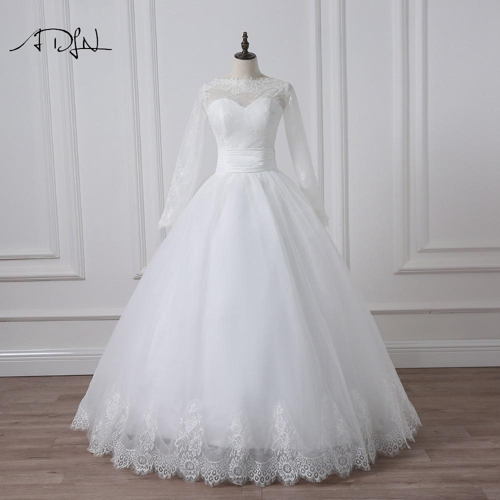 2016 Elegant Långärmad Bröllopsklänning Bollfärg Trädgård - Bröllopsklänningar - Foto 1