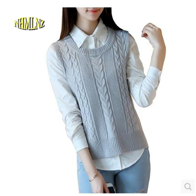 2017 Chinese New Year Vest Women Casual Pure color Sleeveless Sweater Loose Korean High quality Women knit Sweater Vest OK53