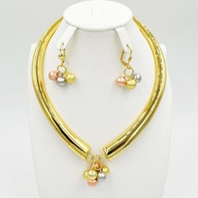 New Arrival Fashion high quality Real Gold Plated african Jewelry Set Italy 750 gold Earrings Necklace 3color Wedding Party set