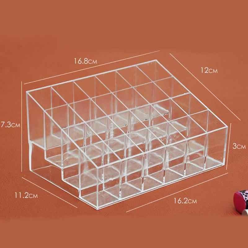 24 Grid Acrylic Makeup Organizer Penyimpanan Kotak Case Lipstik Perhiasan Pemegang Kosmetik Display Stand Alat Make Up Sikat Pemegang