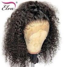 Pełna peruki typu Lace z ludzkich włosów dla czarnych kobiet kręcone peruka na koronce wstępnie oskubane linii włosów z dzieckiem włosy bielone węzłów 10 26 Elva