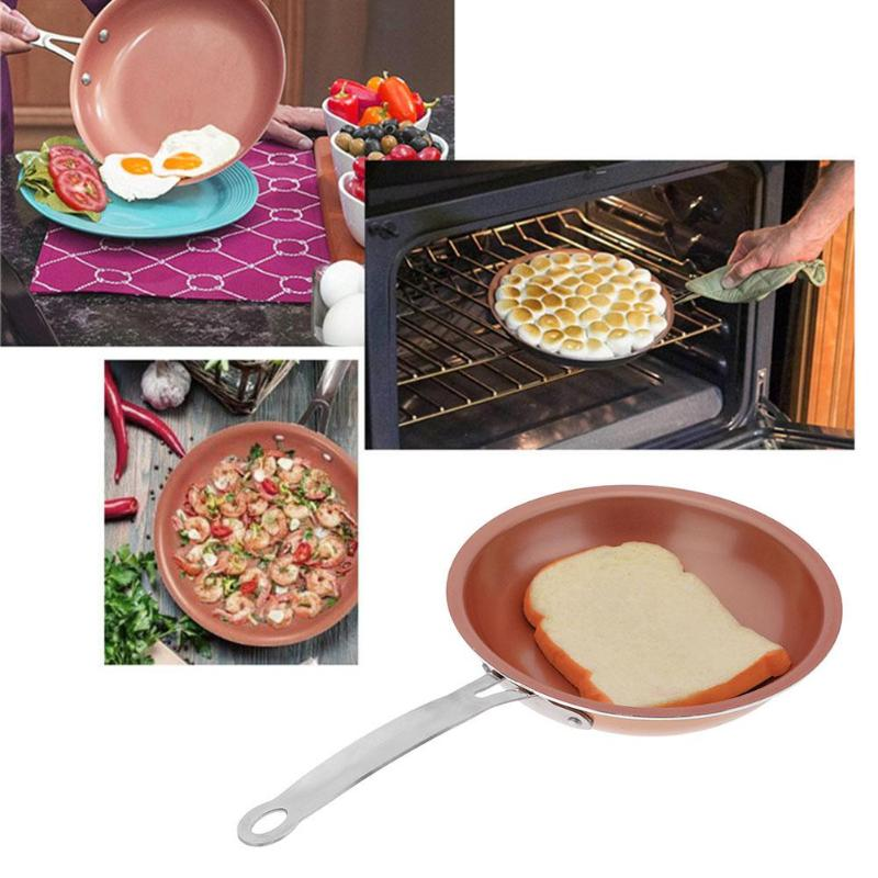 24cm Round Copper Non-stick Pan Steak Egg Frying Pan Kitchen Cooking Tools