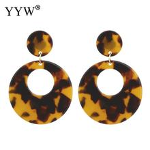 Round Multicolor Earrings Fashion 1pair Creative Stainless Steel Post Pin Drop Earring Marble New Acrylic Leopard