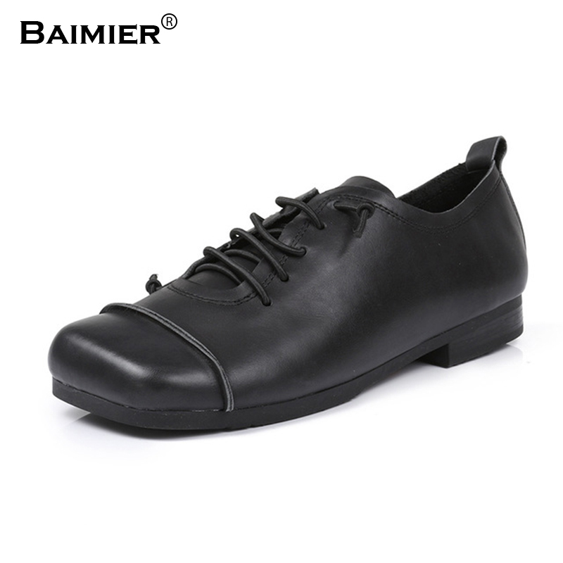Spring Autumn New Fashion Women Flat Shoes Genuine Leather Casual Shoes Round Toe Boat Shoes Ladies Soft Comfortable Footwear asumer white fashion spring autumn flat shoes woman round toe casual comfortable women genuine leather flats simple