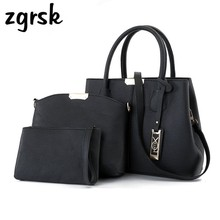 купить Women Composite Bags PU Leather Women Handbag Shoulder Bag Crossbody Messenger Bag Wallets Purse Wristlets 3pcs Bolsos Mujer по цене 1641.96 рублей