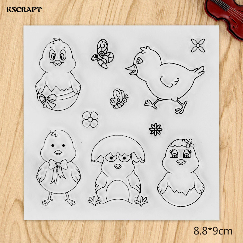 KSCRAFT Chick Transparent Clear Silicone Stamp/Seal for DIY scrapbooking/photo album Decorative clear stamp sheets lovely animals transparent clear silicone stamp seal for diy scrapbooking photo album decorative clear stamp sheets