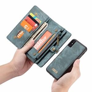 Image 5 - CaseMe lüks deri manyetik 2in1 deri kılıf iPhone12 Pro Max X 8 8 artı 7 7 artı 6 6s artı fermuar çevirme çanta cüzdan kılıf