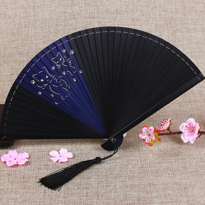 Free Shipping Boutique Printing Hand Fan High Quality Bamboo Carving Cartoon Folding Fan Party Wedding Portable Gift Folding Fan