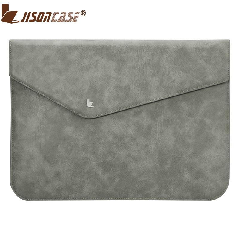 Jisoncase Luxury PU Leather Sleeve Bag For Macbook Air Pro Retina 13 inch Ultra Thin Business Vintage Pouch Laptop Bags & Cases soyan sleeve pouch microfiber pu leather bag for macbook pro 15 4 inch black