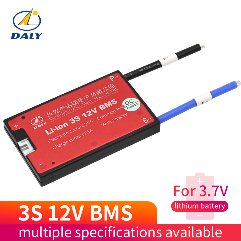 Daly Li-ion bms 3s 12V 10A 25A 35A 40A 45A 60A BMS 11.1V 12.6V 18650 lithium battery pack BMS with balanced Version for e-bike image