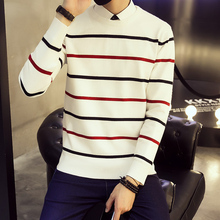 2016 New Winter Fashion Brand Casual Sweater O-Neck Striped Slim Fit Knitting Men's Sweaters And Pullovers Men Pull Sleeve