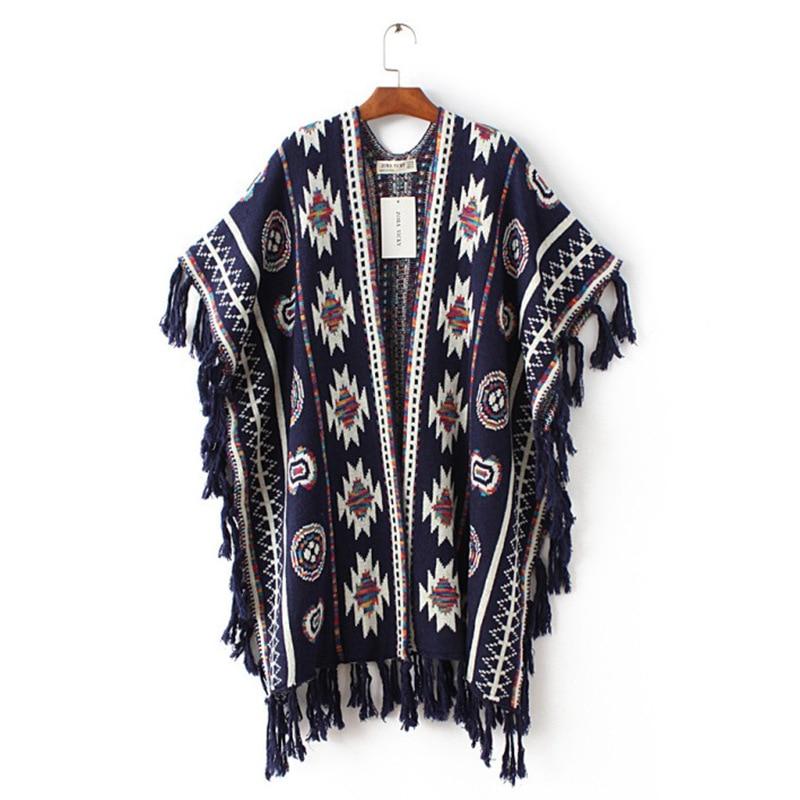 Կանայք 3 գույներ Aztec Long Cardigan Vintage Geo Pattern - Կանացի հագուստ - Լուսանկար 2