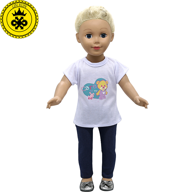 Doll Accessories American Girl Doll Clothes White Short-sleeved T-shirt + Trousers Suit for 16-18 inch Dolls MG-280 american girl doll clothes halloween witch dress cosplay costume for 16 18 inches doll alexander dress doll accessories x 68
