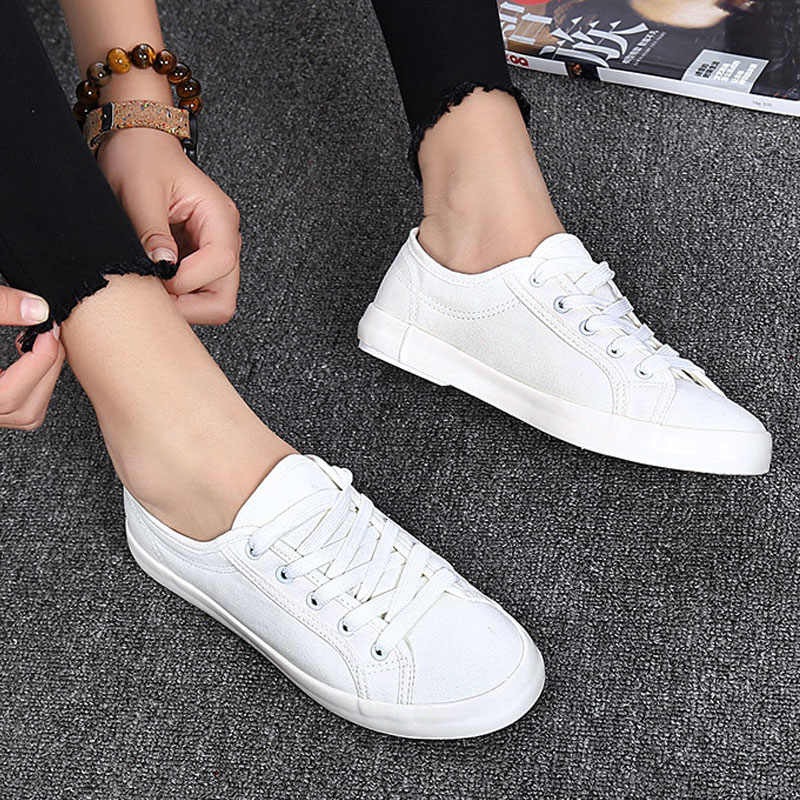 Fashion Casual Women's Vulcanize Shoes Lace Up Ladies Canvas Shoe Female Leisure Flat Footwear Sneakers Women Summer Shoes DC52 2018 women summer slip on breathable flat shoes leisure female footwear fashion ladies canvas shoes women casual shoes hld919