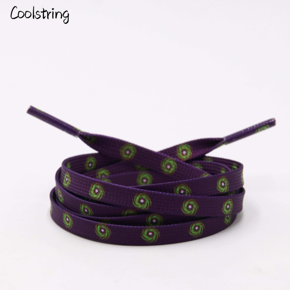 Coolstring Sublimated Printed Purple Shoelaces With Prints Green Hurricane Laces For Sneakers Shoes Boots Lanyard Accessories