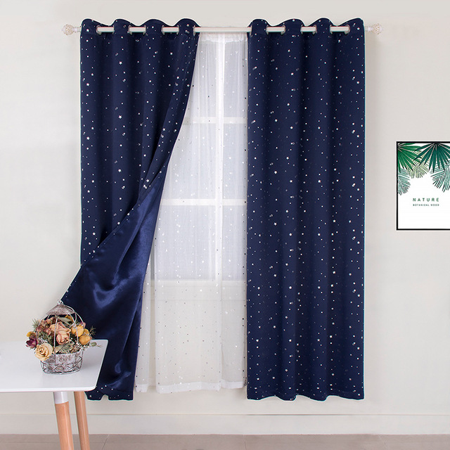 Navy Blue Star Curtains For Kids Room Lovely Printed Curtains For
