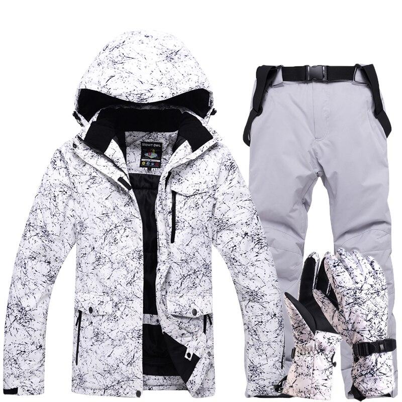 Новый утолщенный теплый лыжный костюм для мужчин и женщин зимние ветрозащитные водонепроницаемые лыжные перчатки сноуборд куртка брюки ко...