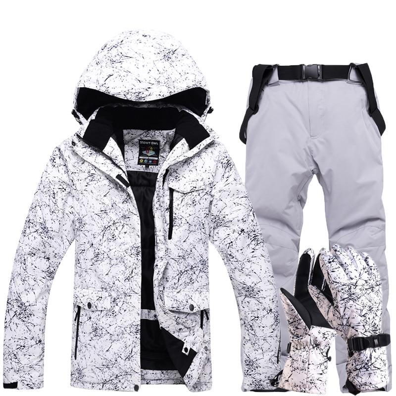 Nuevo traje de esquí grueso y cálido para hombre y mujer, guantes de esquí impermeables a prueba de viento para invierno, chaqueta de Snowboard, pantalones, traje masculino de talla grande 3XL - 3