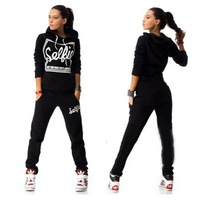 Casual Warm Tracksuit Women 2 Piece Set Letter Print Hoodie Sports Suit Sweatshirt And Pants