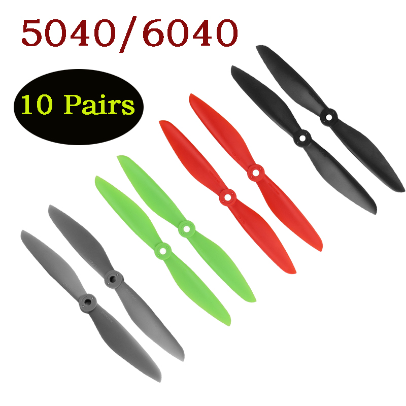 Wholesale ABS 10paris 5x4 5040 5040R 6x4 <font><b>6040</b></font> 6040R CW CCW <font><b>Propeller</b></font> Props For RC FPV Multi-Copter Quadcopter QAV250 FPV Props image