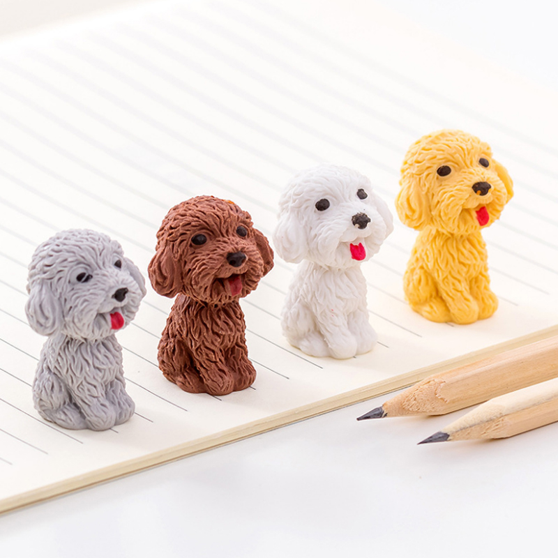 1pcs/lot Cartoon Cute Dog Rubber Eraser Art School Supplies Office Stationery Novelty Pencil Correction Supplies