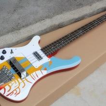 Специальный узор левая ручная электрическая бас гитара с белой накладкой, палисандр гриф, хромированные изделия, предложение по индивидуальному заказу