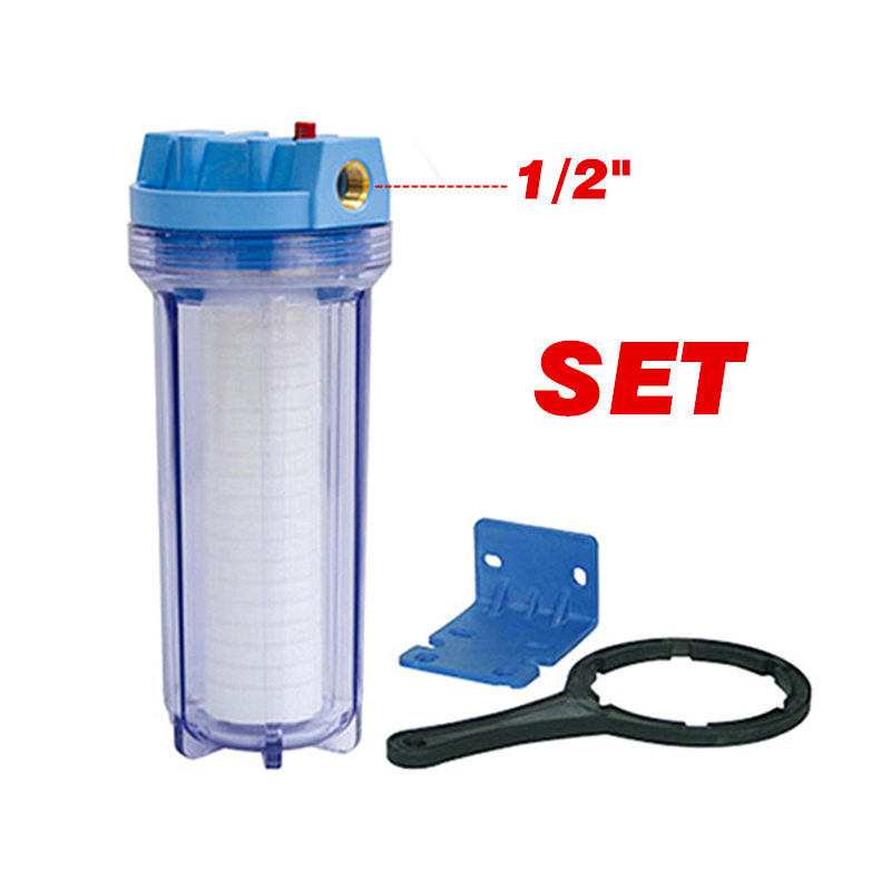 Explosion-Proof Household Pre-Filtration 10 Clear Slim Line Water Filter Housing 1/2 Brass Port With PP Cotton Filter single stage water purification with 10 clear filter housing 10 gac filter plastic wrench