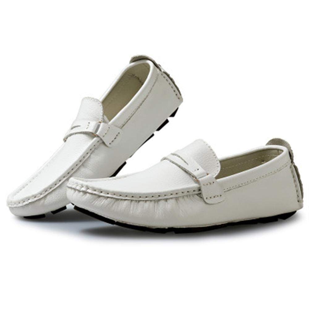 Men Shoes Men Genuine Leather Loafer Shoes Boat Shoes Peas shoes Slip On Flats Walk Drive Moccasins Breathable British Style