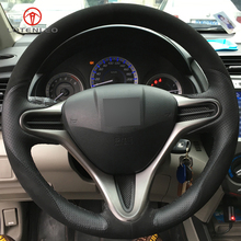 LQTENLEO Черные Кожаные Замшевые DIY ручной прошитой рулевого колеса автомобиля Обложка для Honda Fit 2009-2013 города джаза