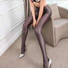 LEOHEX Satin GLOSSY OPAQUE Party Shiny Pants Stockings Pantyhose Shiny Wet look Tights Pantyhose Sexy Socks(China)