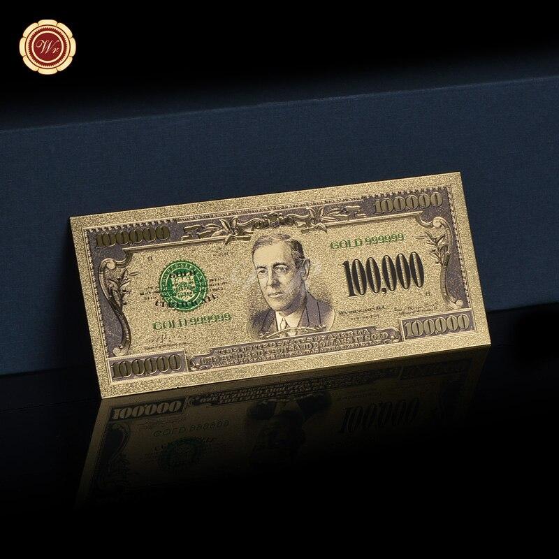 Billete de oro de Color Normal americano $100000, papel plateado, oro 999999, diseño de moda Artesanía de Metal