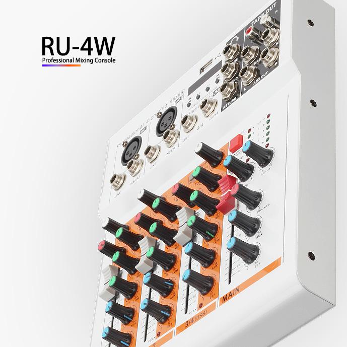YUEPU RU-4W Professional Mixing Console 4 Knobs Channels Interface Digital Mixer Reverberation Adjust USB LED Bluetooth Wireless