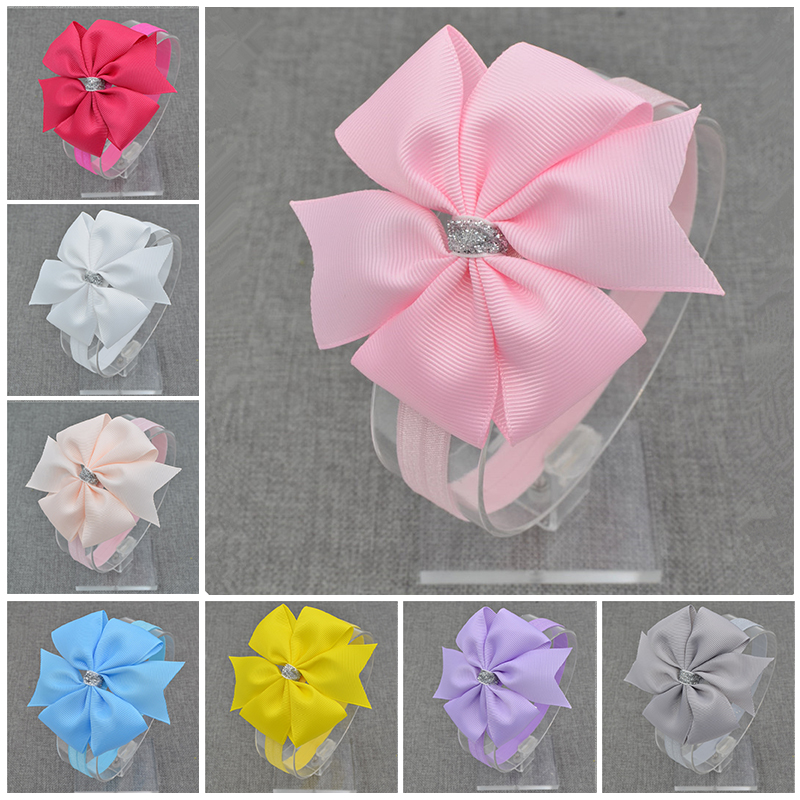 new hairbands newborn Silver Bow Headband Hair Bowknot Headbands Girls Bows Headbands Headwear Hair Accessories 4pcs set fashion cute kid girls headband bowknot headbands bows band hair accessories acessorios para cabelo