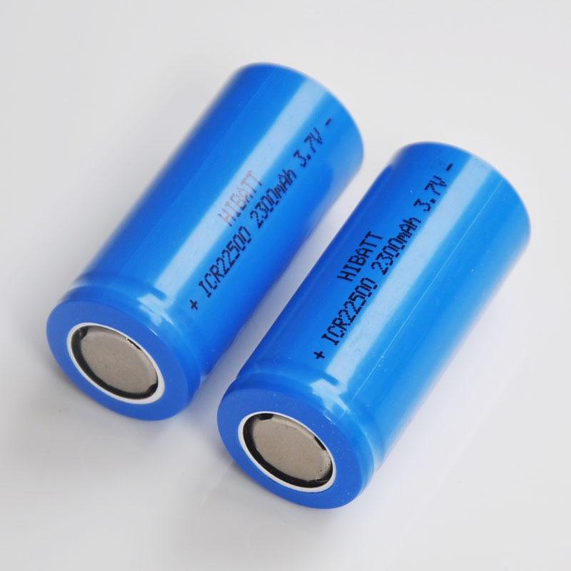 2-icr22500 5 pcs 3.7 v Recarregável 22500 bateria de iões de lítio baterias 2300 mah celular li-ion para lanterna elétrica navalha de barbear